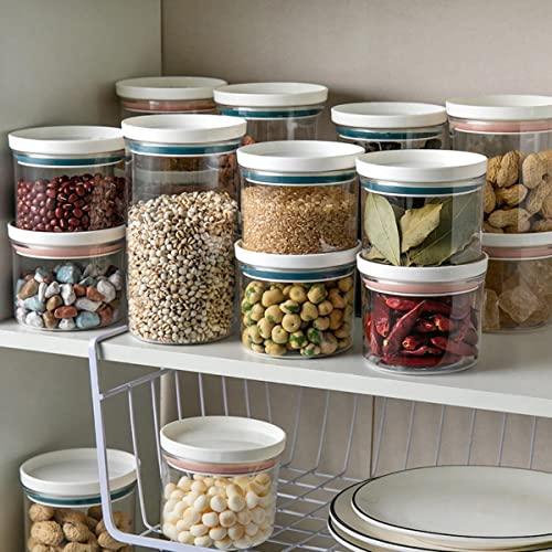 Runde Organizer-Box, Lebensmittel-Utensilien für die Küche, Aufbewahrungsbehälter, Behälter-Set, Vakuum, transparent, luftdicht, Nudeln, Zucker, Reis, Kaffee, Haferblau, 350 ml