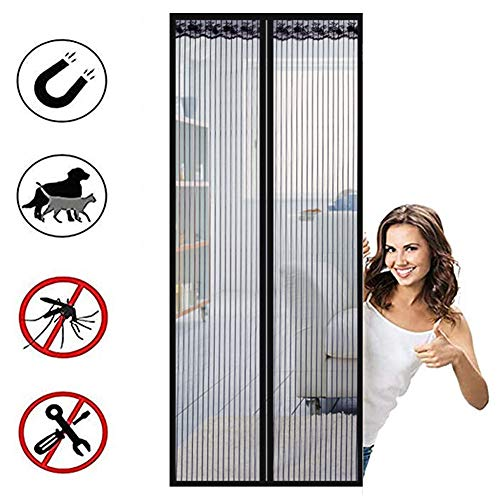 Mosquitera Puerta Magnetica Cortina De Mosca Magnética Mosquitera Cierre Automático Para Puerta De Balcón Sala De Estar Puerta Patio Montaje Adhesivo Sin Perforación 90x210cm(35x82 Pulgadas)