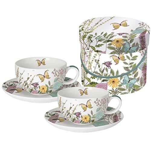 200ml x6 Blanc Cappucino Tasses à café de thé et Soucoupes Set Porcelaine