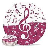 Posavasos de cerámica, diseño de nota musical con piedra absorbente, de cerámica con parte trasera de corcho para tipos de tazas y tazas, posavasos de mesa redonda rosa y blanco (juego de 8)