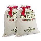 2 Pack Navidad Regalo Bolsas Personalizadas Sacos de Santa Arpillera con Cordón Rojo, Mediano, pequeño, Decoraciones (18.9'' X 14.4'')