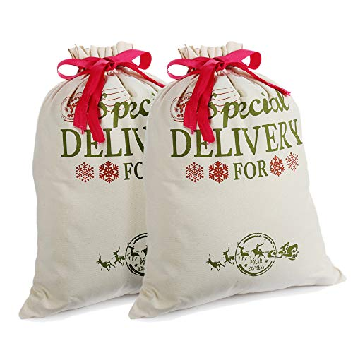 2 Pack Personalizzato Sacchi di Babbo Sacchetto di Natale per Regalo di Tela Borse Piccolo Medio con Cordoncino Rosso per Regali Natalizi Calze di Stoffa e Decorazioni (18.9'' X 14.4'')