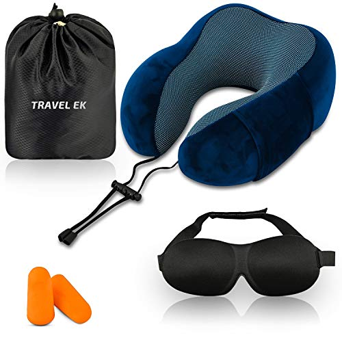 Travel EK Travel Pillow, Memory Foam, with Ear Plugs, Eye Mask, Carry Bag - Adjustable Neck Pillows for Traveling - Flight Cushion for Neck Support - Airplane Travel Accessories for Kids, Adults
