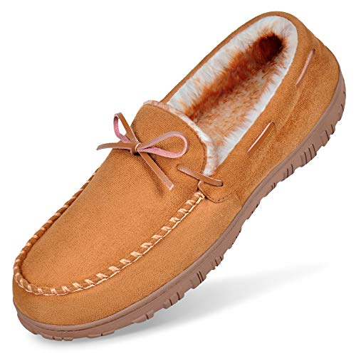 Slippers for Men Size 13, Moccasin Slippers Warm Comfortable Memory Foam Plush Lining Anti Slip Indoor Outdoor Driving Loafers Shoes Light Brown