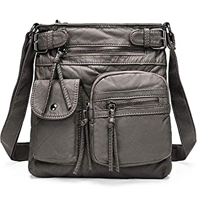 Crossbody Purses Bags for Women Soft Washed PU Leather Small Vintage Shoulder Messenger Bag