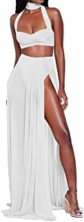 Aro Lora Women's Sexy Chiffon Sheer Mesh Halter Slit 2 Piece Maxi Dress Crop Top Skirt Set