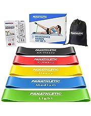 Panathletic Träningsband, Set med 5 Band - 5 Motståndsnivåer, Träningsguide, E-Bok, Förvaringsfodral – 5 st. elastiska fitnessband, hemträningsband, gummiband, motståndsband