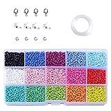 Perline di Vetro, 1500 pezzi 3 mm Perline per Braccialetti/Collane, Bambini Perline Vetro per Fare Gioielli Fai da Te (15 Colori)