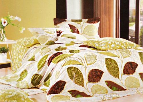 DecoKing 3tlg Bettwäsche 100% Baumwolle 200x220 Ecru grün braun