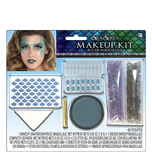 Suit Yourself Sea Siren Mermaid Makeup Kit for Adults, Includes Grease Cream Makeup, Crayon, Gemstones, and More