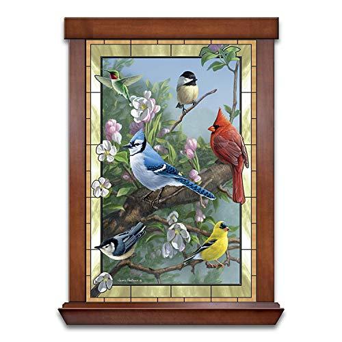 The Bradford Exchange James Hautman Window to Nature Songbird-Themed Self-Illuminating Stained Glass Wall Decor
