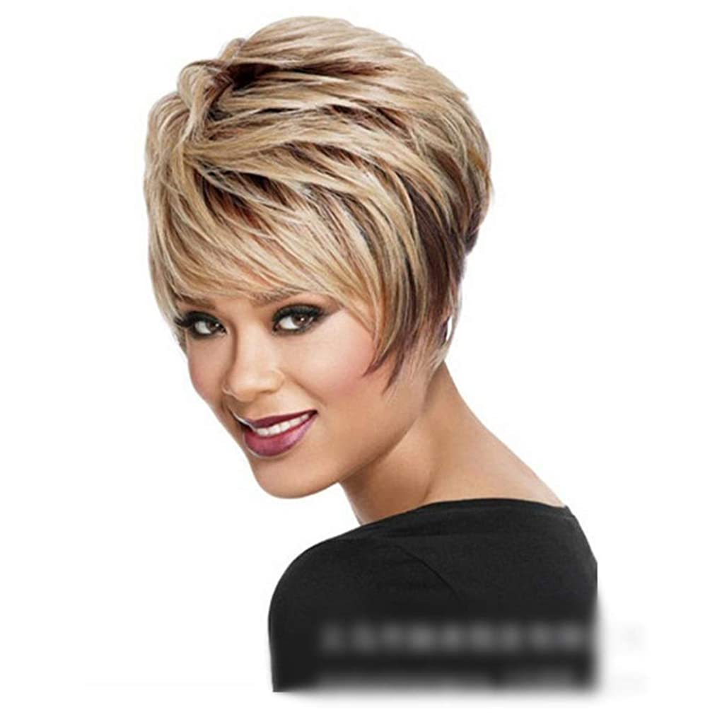 金銭的なフォーカスお手入れYOUQIU 女性のかつらのためにブロンドのかつらふわふわショートカーリーヘアナチュラル人工毛 (色 : Blonde)