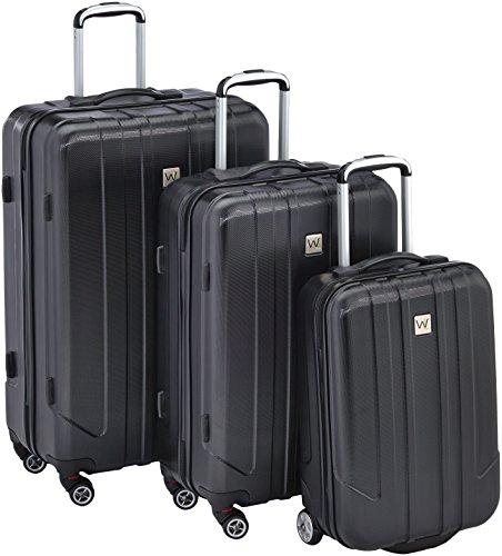 Wagner Luggage Koffer Nautic, 3-Teilig Trolleyset (L/M/S), 4 Roller 78 cm 98 Liters Schwarz