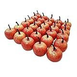 Lorigun 30pcs Artificial Lifelike Simulation 1.3' Mini Red Apples Fake Fruits Photography Props Model