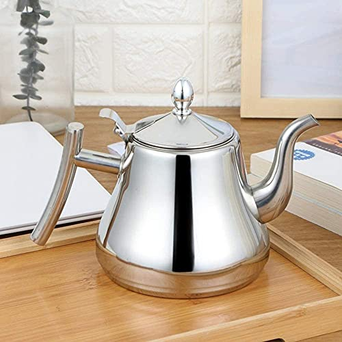 Hervidor de agua de acero inoxidable 304 olla de agua de moda de color dorado y plata con filtro tipo hotel tetera de té 1L/1 5L/2L (plata 1 0) Hervidor de té sin BPA
