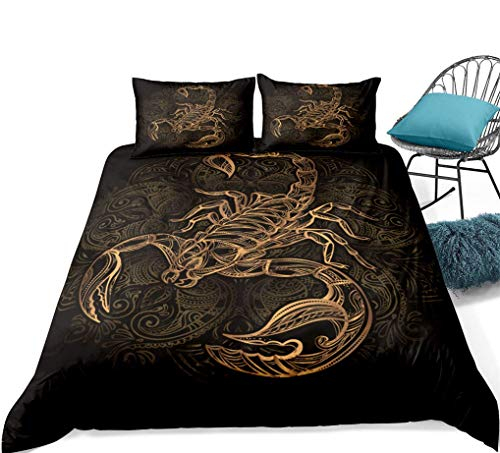 788 Black Bedding Set Gold 3D Animal Elephant Turtle Bird Sheep Head Dragonfly Scorpion Fish Bronzing Duvet Cover Double Children Boys Girls Teen, 1 Quilt Cover 200x200 + 2 Pillowcase 50x75