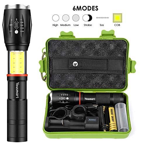 YOUSMART LED Torch, L2 Tactical Flashlight Adjustable Focus Handheld 6 Modes 1200 Lumen Waterproof...