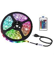 USB LED Strip Lights, 16 Kleuren RGB 5050 Light, 24Key Infrared Afstandsbediening, Veilig en Touchaal, DIY Indoor Decoratie, TV Backlight (1 m/3,28 m)
