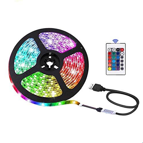 Tira de luces LED USB con mando a distancia, 5 V, 5050 RGB, color flexible, segura y táctil, para interiores