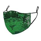 Saingace(TM) Glitzer Mundschutz Multifunktionstuch Party Maske Atmungsaktiv Face Cover Mund und Nasenschutz Bedeckung Multifunktionstuch Halstuch Weihnachts (Grün)