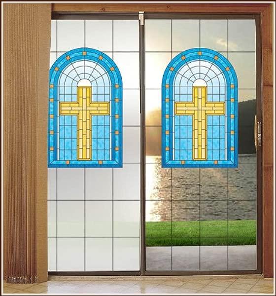基督教彩色玻璃磨砂背景装饰隐私窗膜 32英寸厘米点 ¯ X 86英寸厘米