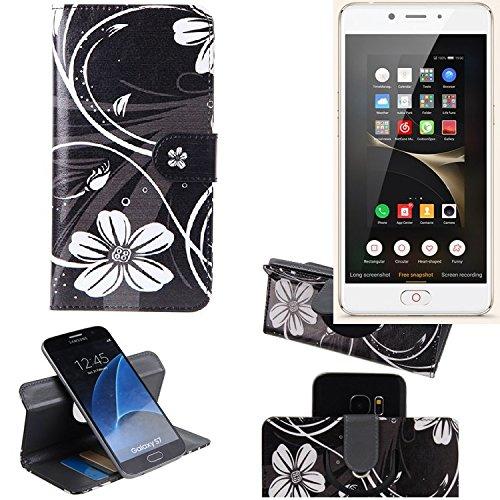 K-S-Trade Schutzhülle Für Nubia N2 Hülle 360° Wallet Hülle Schutz Hülle ''Flowers'' Smartphone Flip Cover Flipstyle Tasche Handyhülle Schwarz-weiß 1x