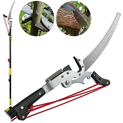 Happybuy Tree Pruner 5.4~17.7ft Extendable Pole Saw with 3-Sided Blade SK5 Cutting Blade Tree Pole Pruner Tree Saw Alloy Steel Branch Long Reach Pole Pruning Saw for Sawing and Shearing