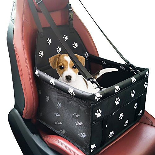Pet Dog Car Booster Seat Carrier,Portable Foldable Carrier with Seat Belt for Dog Cat up to 25lbs (Black)