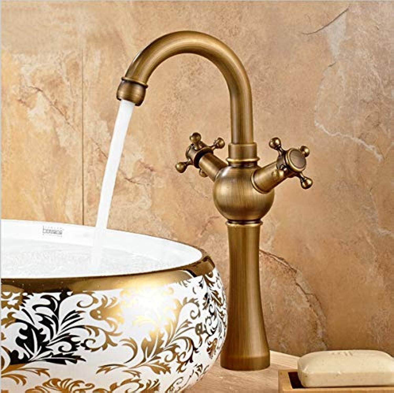 VIOYO Wasserhahn Wasserhahn Classic Tall Antique Brass Drehbare Doppelrad Griff Bad Wasserhahn Swivel Curved Becken Waschbecken Mischbatterie