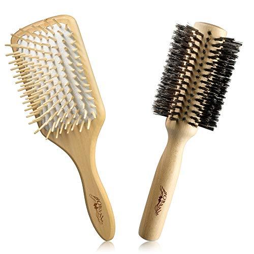 Set spazzole anti crespo in legno naturale: spazzola pneumatica gigante con picchi in legno e rullo in pura setola di cinghiale. Spazzola antistatica