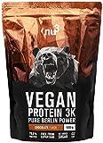 nu3 - Proteína vegana 3K - 1kg de fórmula - 70% de proteína a base de 3 componentes vegetales - Proteínas para el crecimiento de la masa muscular con delicioso sabor chocolate