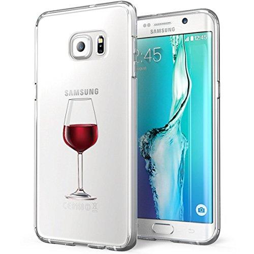 Galaxy S6 Edge Antiurto,Galaxy S6 Edge Clear Cover Alsoar Cute Animale Sottile e Leggera Silicone Trasparente Anti Scivolo Graffi Morbido TPU Cover per Samsung Galaxy S6 Edge (Bicchiere di Vino)