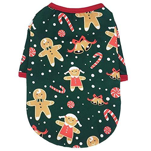 Ropa para Perros, Chaleco para Mascotas, Camisa de Navidad, Ropa para Perros, Disfraz para Perros, Ropa para Mascotas para Perros pequeos-Gingerbread_Man_M_4-5KG