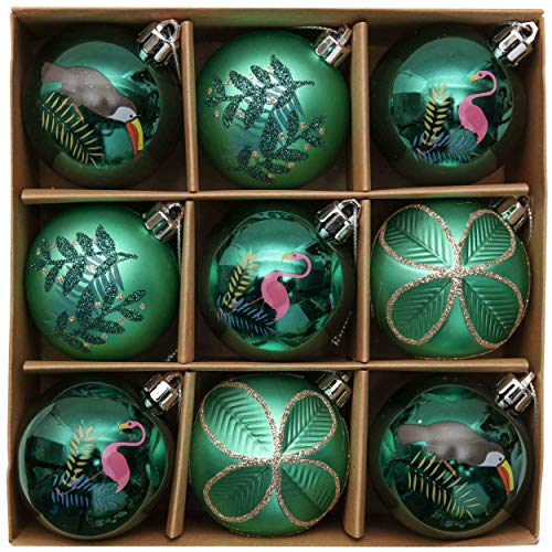 Valery Madelyn Palle di Natale 9 Pezzi 6cm Addobbi Natalizi, Rainforest Carnival Green And Gold Shatterproof Christmas Ball Ornaments Decoration for Christmas Tree Decor