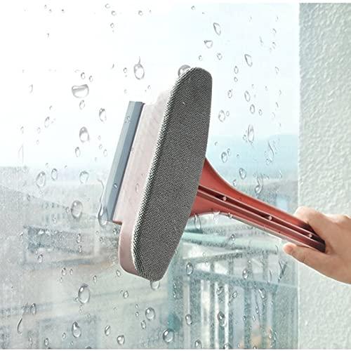 AHURGND Kit de goma de lavado de ventanas, limpiador de ventanas, borrador de cepillo de esponja largo, con pincel de raspador y flannelette, para equipos de lavado de ventanas al aire libre para exte