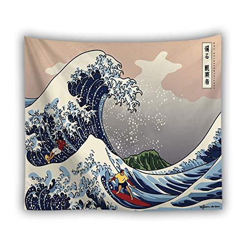 WERT Tapiz de Agua de mar de Onda de Dibujos Animados, Tapiz de Mandala, decoración del hogar Indio, Tapiz de Pared, Tela de Fondo A11 73x95cm