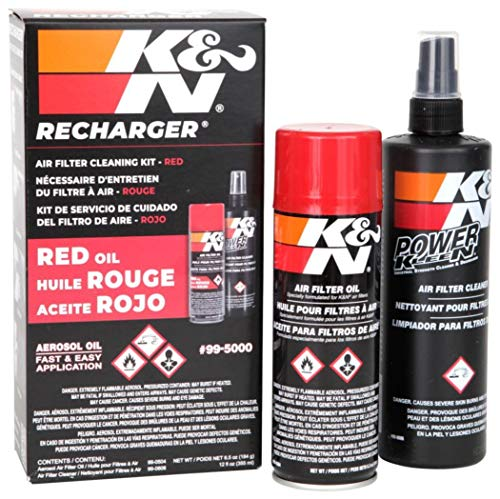 K&N Air Filter Cleaning Kit: Aerosol Filter Cleaner and Oil Kit; Restores Engine Air Filter Performance; Service Kit-99-5000, Multi