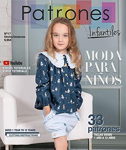 Revista Patrones Infantiles nº 17 Moda Otoño-Invierno. Patrones de costura infantil. 33 modelos de patrones niña, niño, tallas 1 a 12 años, con tutoriales paso a paso en vídeo (Youtube).