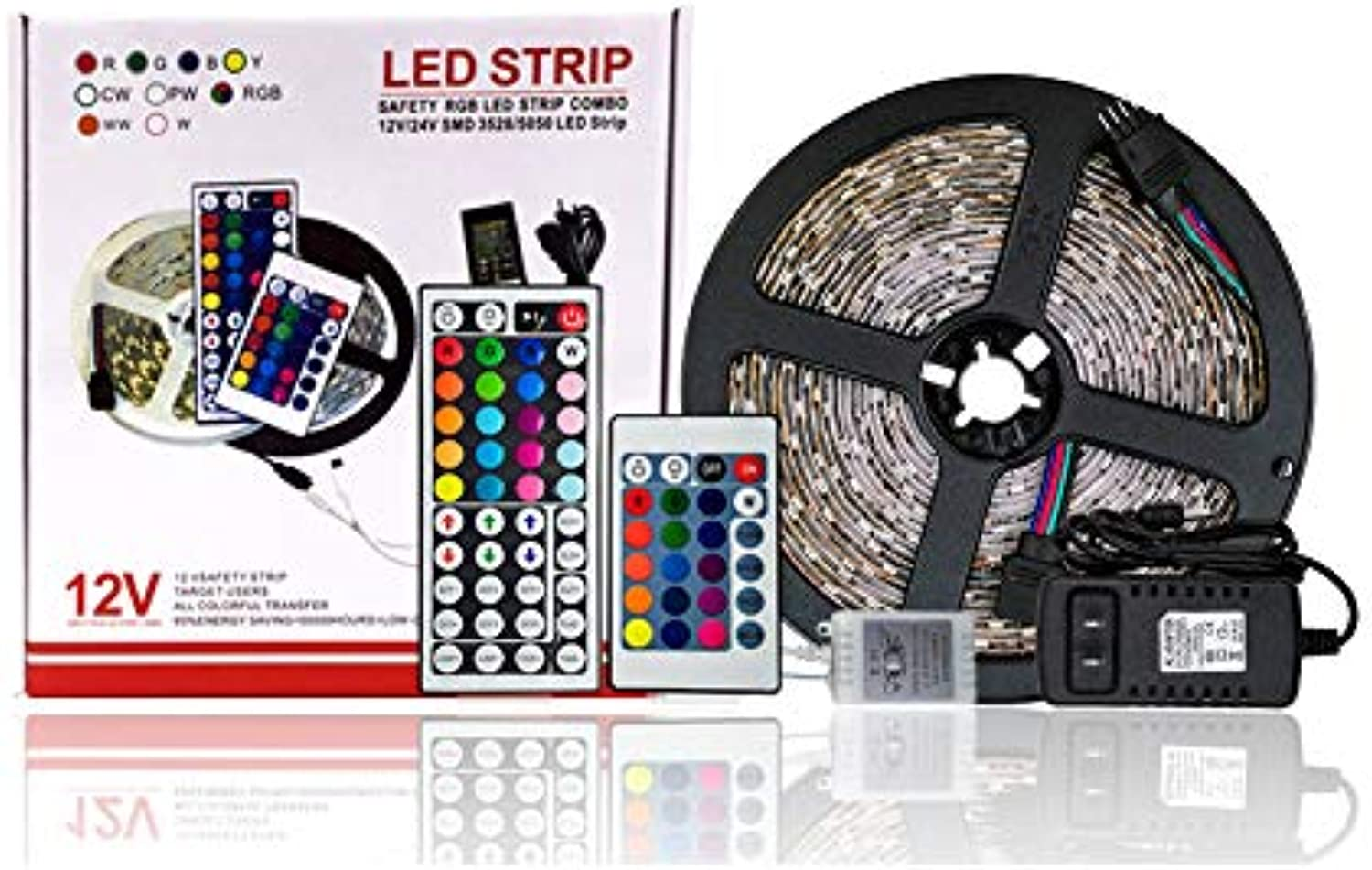 DZH LED Strip Light Waterproof 300leds 16.4ft 5m Waterproof Flexible Farbe Changing RGB SMD 5050 LED Strip Light Kit with 44 Keys IR Remote Controller and 12V 2A Power Supply (RGB)