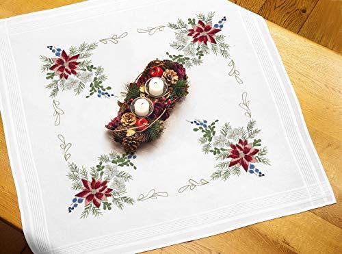 Kamaca Stickpackung WEIHNACHTSSTERN Tischdecke 80x80 cm Spannstich Plattstich Nadelmalerei vorgezeichnet Baumwolle komplettes Stickset mit Stickvorlage Weihnachten