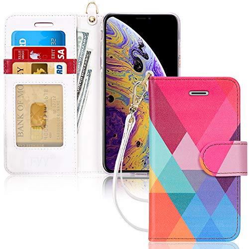FYY Coque iPhone XS Max, Etui iPhone XS Max, Étui Portefeuille en Cuir PU Haut de Gamme avec [béquille] [Bracelet] [Housse en Caoutchouc Anti-Choc] pour Apple iPhone XS Max (6.5 Pouces) Motif 15