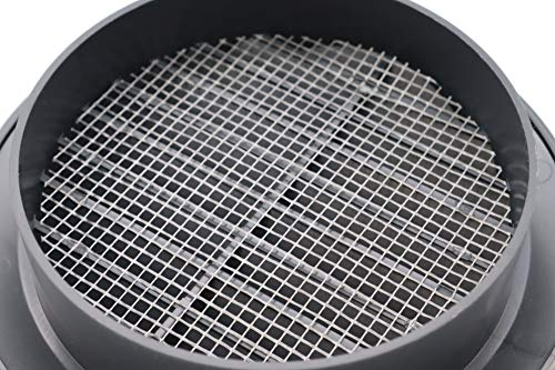 Vent Systems 4'' Inch - Graphite - Soffit Vent Cover - Round Air Vent Louver - Grill Cover - Built-in Insect Screen - HVAC Vents for Bathroom, Home Office, Kitchen
