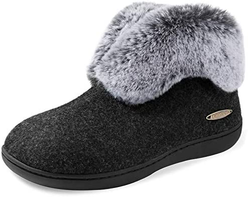 ULTRAIDEAS Women s Cozy Memory Foam Slippers with Plush Faux Fur Collar Wool Like Blend Cotton product image