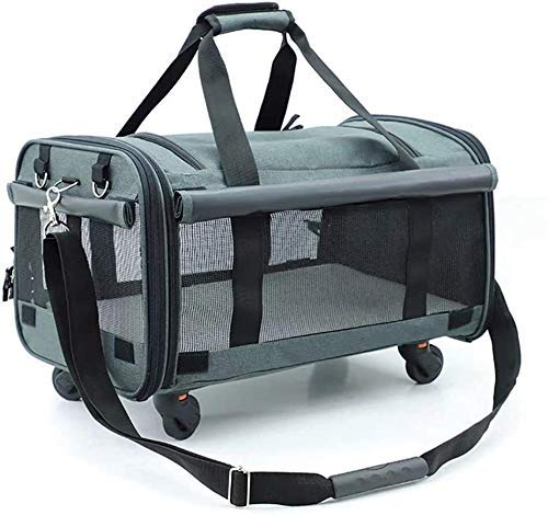 Pet Trolley, Pet Carrier Waterproof Fabric Padded Soft Sided Airline Approved Portable Collapsible Mesh Breathable (Color : A) Firm