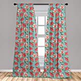 Ambesonne Hibiscus Curtains, Pattern of Tropic Flowers and Bubbles Graphic, Window Treatments 2 Panel Set for Living Room Bedroom Decor, 56' x 63', Teal Coral