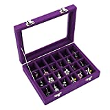 Caja organizadora ivosmart con 24 secciones de terciopelo y tapa de vidrio para guardar joyas, con exhibidor de anillos o bandeja para aretes. , 24 section (purple)