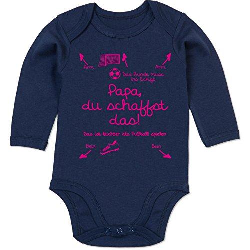 Shirtracer Strampler Motive - Papa du schaffst das Fußball Mädchen - 6/12 Monate - Navy Blau - Baby Strampler - BZ30 - Baby Body Langarm