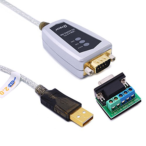 DTECH USB to RS422 RS485 Serial Port Converter Adapter Cable with FTDI Chip Supports Windows 10 8 7 XP Mac -1.5 Feet