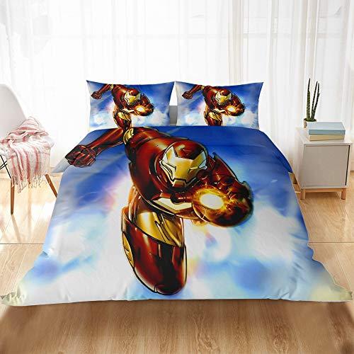 CQLXZ Iron Man-Juego de cama infantil de fibra superfina, diseño animado para niños y niñas (220 x 240 cm)