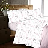 Gaveno Cavailia Easy Care Soft Yarrow Floral Pattern Flannel Sheet Set, 100% Brushed